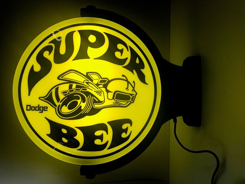 Image of Dodge Super Bee Logo Indoor Plastic Light Up Revolving Sign-Live Fast Supply Company