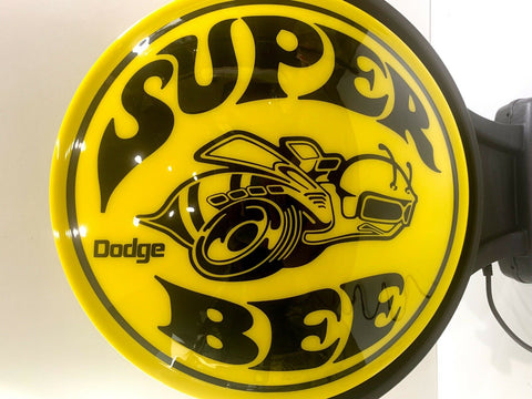 Dodge Super Bee Logo Indoor Plastic Light Up Revolving Sign-Live Fast Supply Company