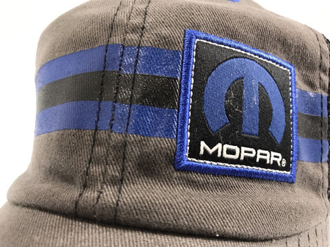 Image of Mopar Hat - Grey with Blue Stripe Logo / Emblem (Top)