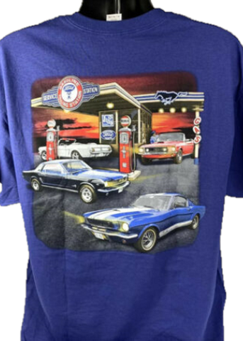 Image of Ford Mustang T-Shirt - Blue w/ 1964-1968 Gas Station Scene
