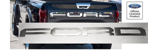 2017-2018 Ford Raptor Tailgate Overlays - Brushed Stainless Steel - Main