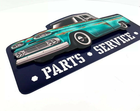 Image of 1960 Chevy C10 Pickup Truck Parts & Service Metal Sign - Top