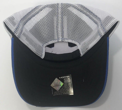 Image of Mopar Hat - Blue Logo with Black Bill & White Mesh (Back)