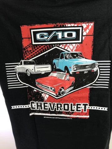 Chevrolet C10 T-Shirt - Black w/ Multiple Generations Pickup Trucks (Licensed) - 1