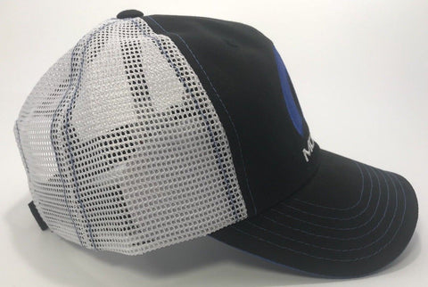 Image of Mopar Hat - Blue Logo with Black Bill & White Mesh (Side)