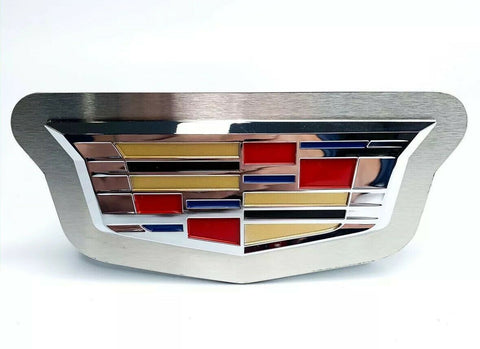 "Chrome 2014 Cadillac Emblem Trailer Tow Hitch Cover (Stainless Steel 2"" Plug) - Front"