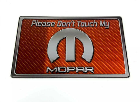 "Image of Dash Plaque Sign ""Please Don't Touch My Mopar"" - Orange Carbon Fiber-Live Fast Supply Company"