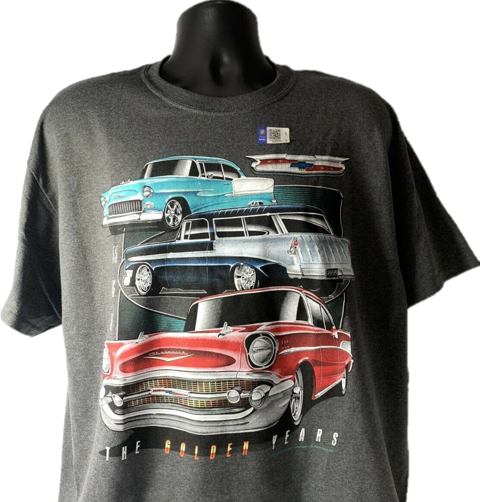 "Chevrolet Tri-5 T-Shirt Gray w/ Bel Air, 210, 150 ""The Golden Years"""
