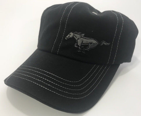 Black Ford Mustang Hat with Offset Pony Emblem (Front)