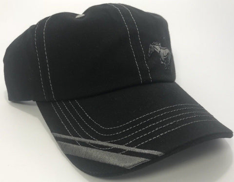 Black Ford Mustang Hat with Offset Pony Emblem (Side)