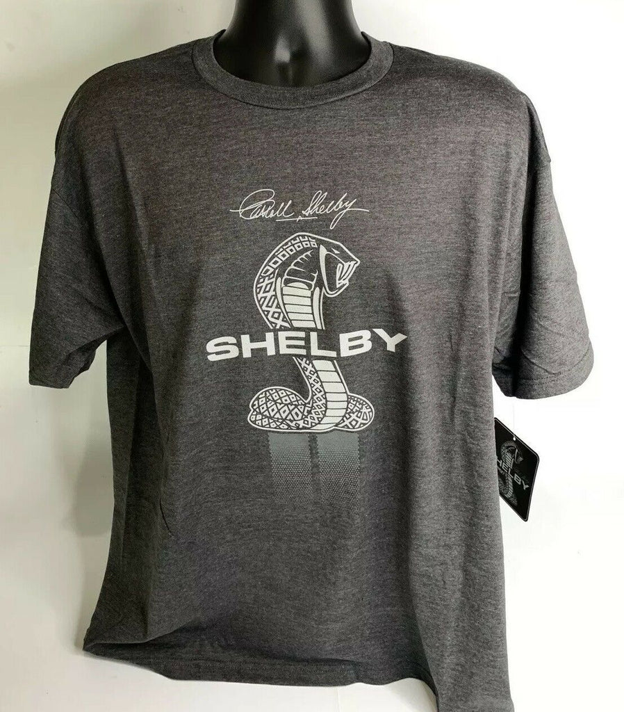 Shelby Cobra T Shirt - Gray w/ Signature Snake Emblems - Front