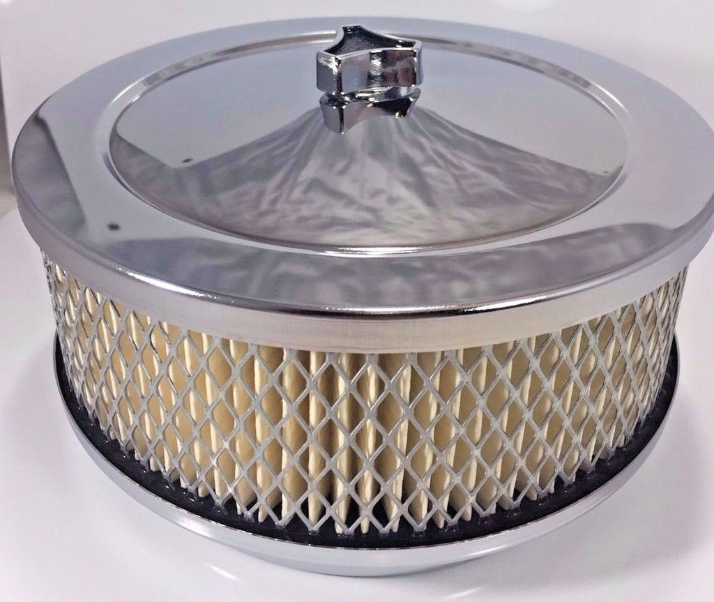 "4 Barrel Air Cleaner - Chrome 6-3/8"" Round with 5-1/8"" Neck Main"