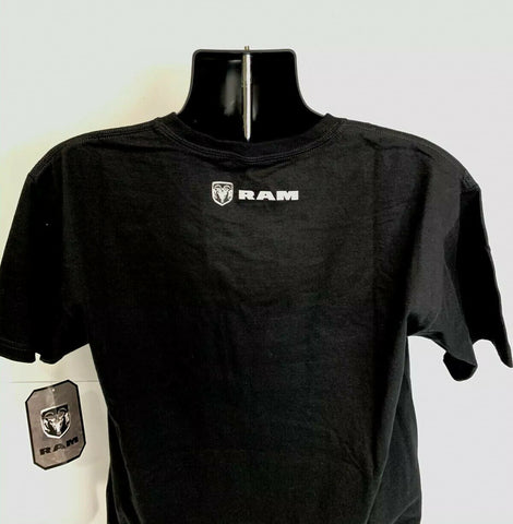 Black T-Shirt w/ Dodge Ram Truck Emblem Logo - Licensed - Back