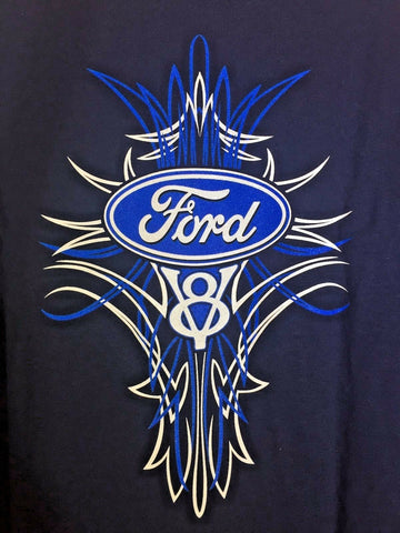 Image of Ford V8 T Shirt - Blue Pinstripe Logo / Emblem - Back