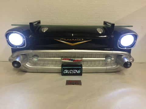 1957 Chevrolet Bel Air Wall Shelf - Classic Black w/ Glass - Lights