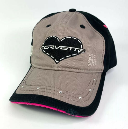 Chevy Corvette Script Emblem Ladies Hat - Heart w/ Gems On Bill - Weathered Style-Live Fast Supply Company