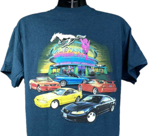 Image of Ford Mustang T-Shirt - 1994-2004 4th Generation Drive In Scene - Midnight Blue-Live Fast Supply Company