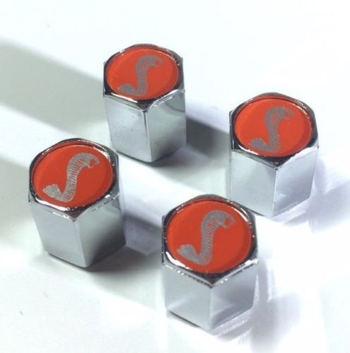 Ford Shelby Cobra Valve Stem Caps - Red with Silver (Set of 4) - Top 2
