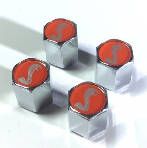 Image of Ford Shelby Cobra Valve Stem Caps - Red with Silver (Set of 4) - Top 2