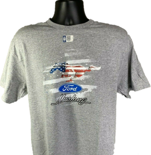 Ford Mustang T-Shirt W/ Patriotic Pony Emblem - Gray W/ Red White & Blue Logo-Live Fast Supply Company