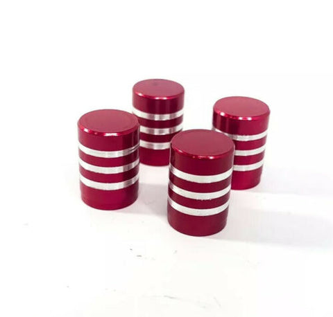 (Set/4) Red Tire Valve Stem Caps - Red Billet Aluminum w/ Brushed Rings