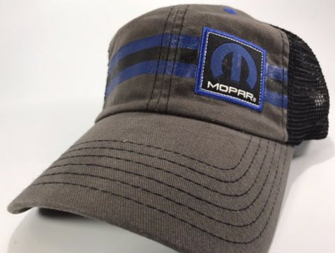 Mopar Hat - Grey with Blue Stripe Logo / Emblem (Front)