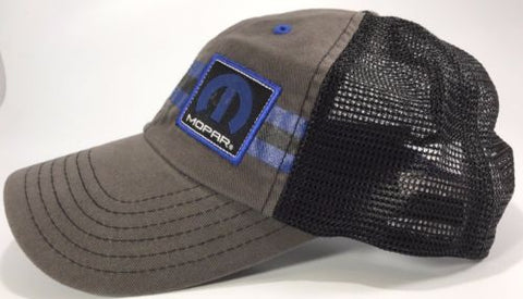 Image of Mopar Hat - Grey with Blue Stripe Logo / Emblem (Side)