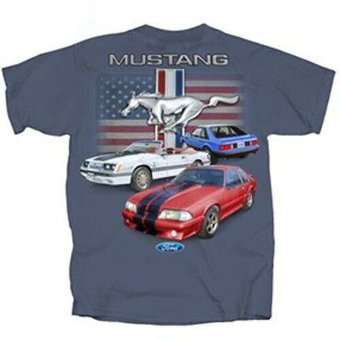 Ford Mustang T Shirt - Blue with American Flag and Fox Body Mustangs - Main