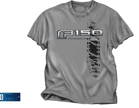 Image of Ford 150 Truck T Shirt - Heathered Gray with F150 Powered by Ford Emblem - Main