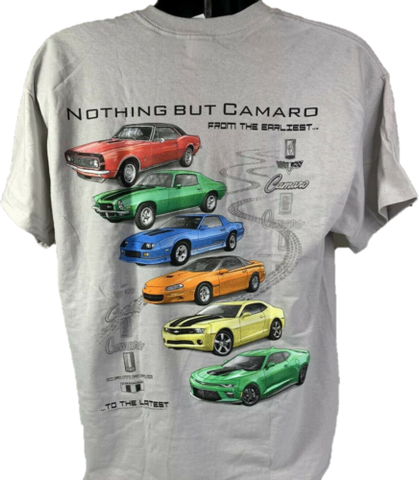 Chevy Camaro T-Shirt w/ Six Generations of Cars & Emblems - Light Gray-Live Fast Supply Company