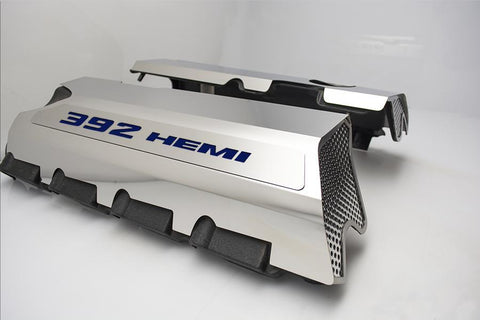 392 HEMI Fuel Rail Covers for 2011-2019 - Polished Stainless Steel w/ Color Inlay - Dark Solid Blue