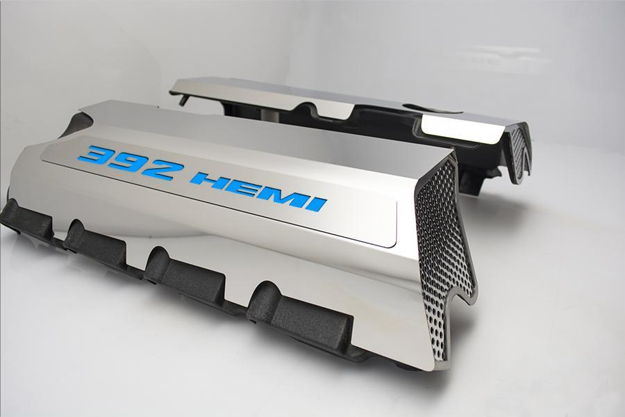 392 HEMI Fuel Rail Covers for 2011-2019 - Polished Stainless Steel w/ Color Inlay - Mopar Blue