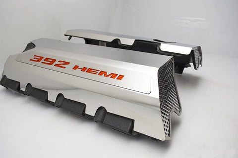 Image of 392 HEMI Fuel Rail Covers for 2011-2019 - Polished Stainless Steel w/ Carbon Fiber Inlay - Orange