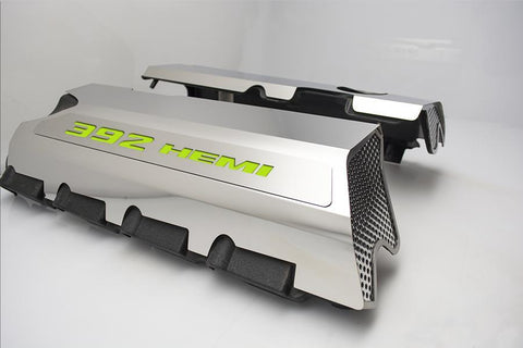 Image of 392 HEMI Fuel Rail Covers for 2011-2019 - Polished Stainless Steel w/ Color Inlay - Sublime Green Solid