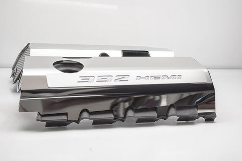 392 HEMI Fuel Rail Covers for 2011-2019 - Polished Stainless Steel w/ Carbon Fiber Inlay - White