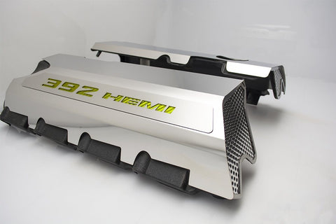 392 HEMI Fuel Rail Covers for 2011-2019 - Polished Stainless Steel w/ Carbon Fiber Inlay - Yellow
