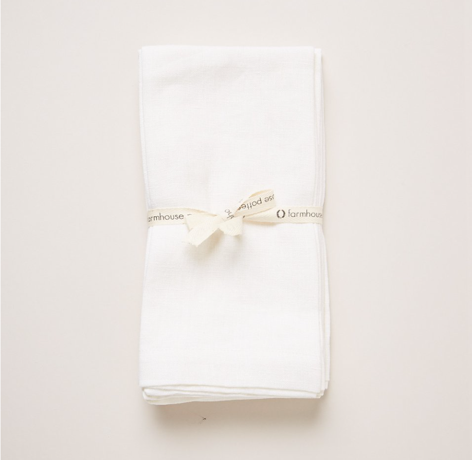WASHED LINEN NAPKINS - WHITE