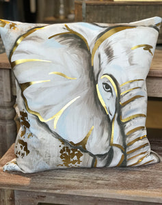 GOLD FOIL ELEPHANT PILLOW