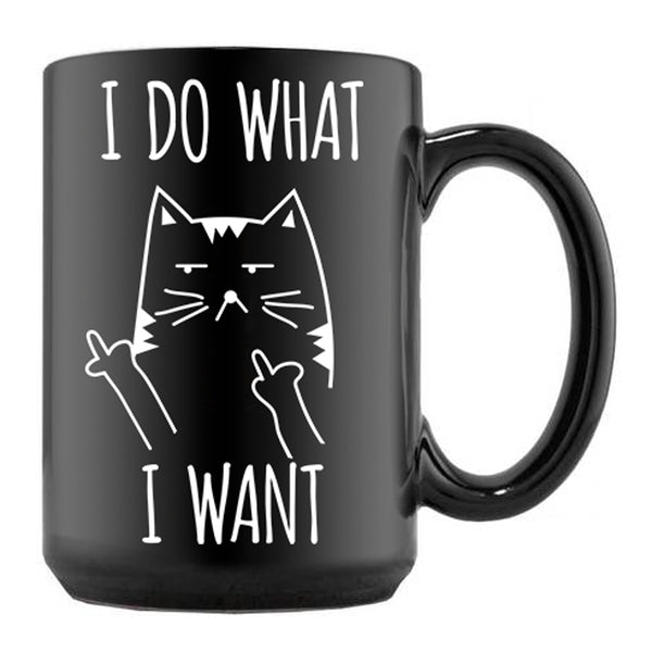 I do what I want Black Cat Mug