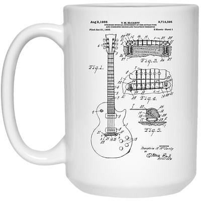 Les Paul Patent Print Music Coffee Mug Great Gift for Guitar Lover
