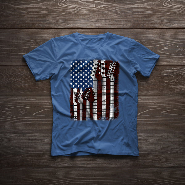 American Flag Guitar Basic T-Shirt