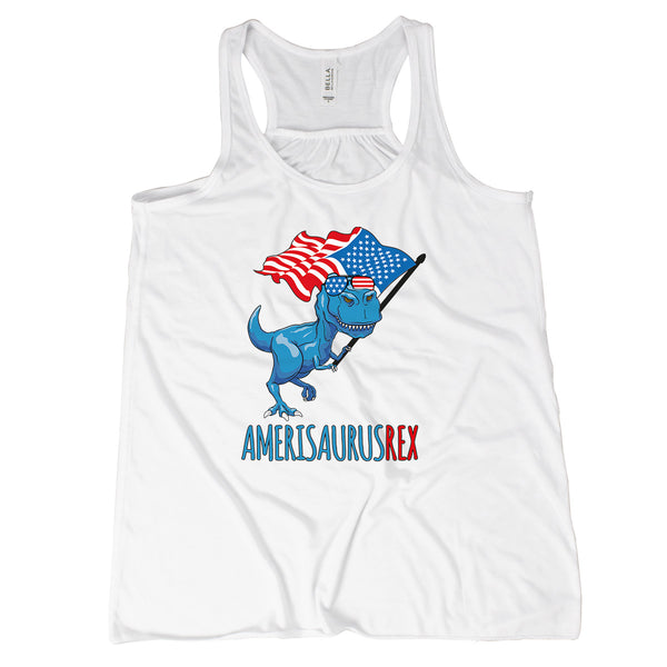 Amerisaurus Rex Tank Top Patriotic Dinosaur Shirt for Women