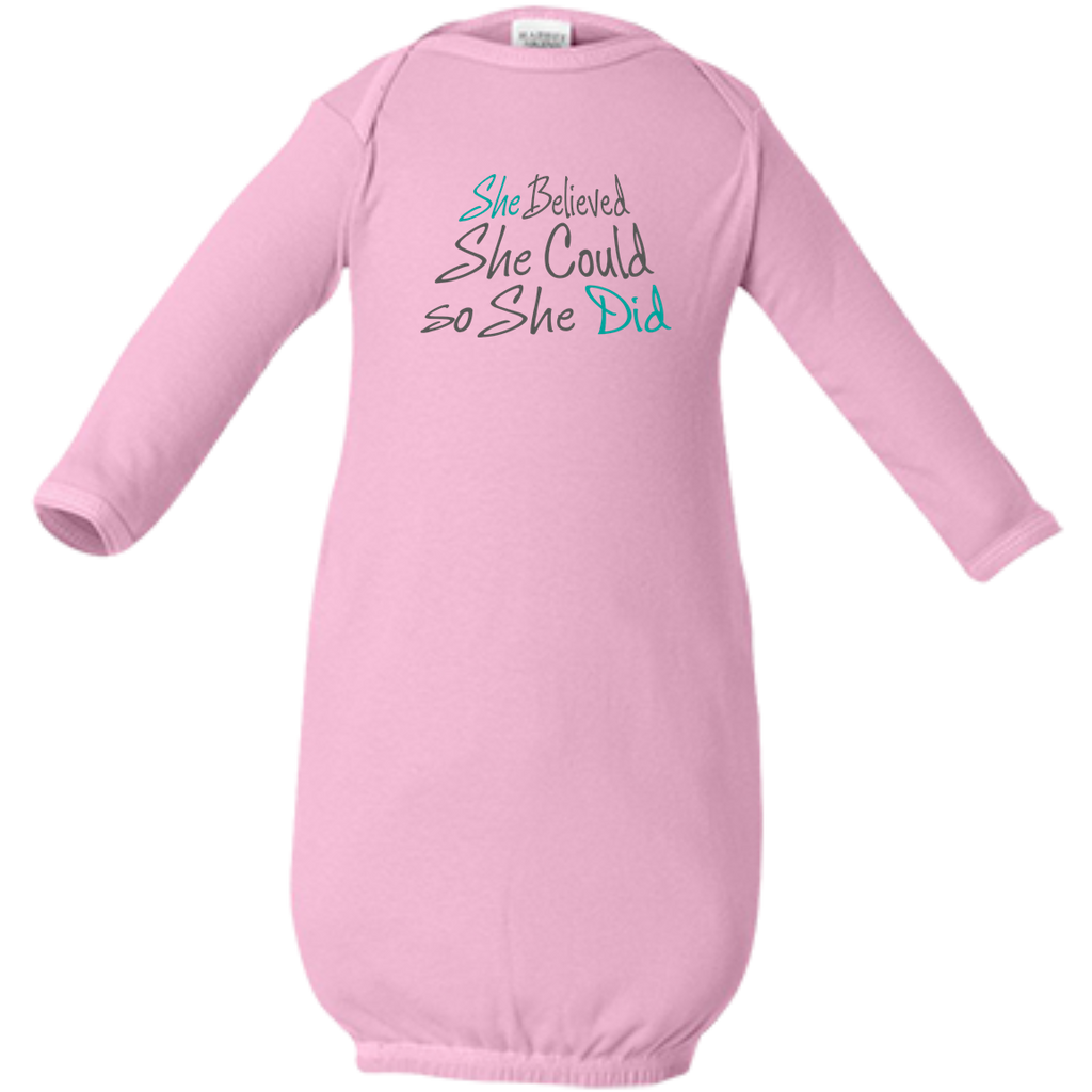She Believed She Could So She Did - Baby Girl Gown - Infant Layette - Baby Girl Shower Gift