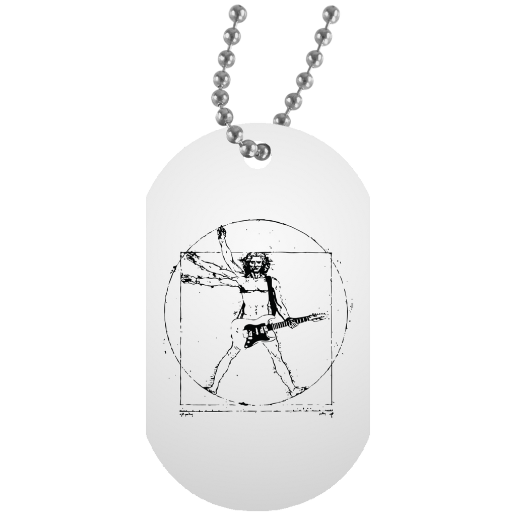 Vitruvian Rocker Guitar White Dog Tag Necklace - Gift for the Guitarist