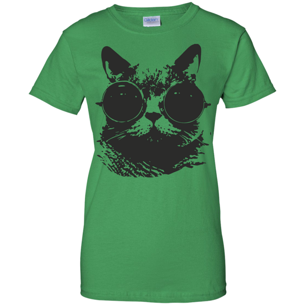 Black Cat Glasses Ladies Custom 100% Cotton T-Shirt - Cool Cat Gift