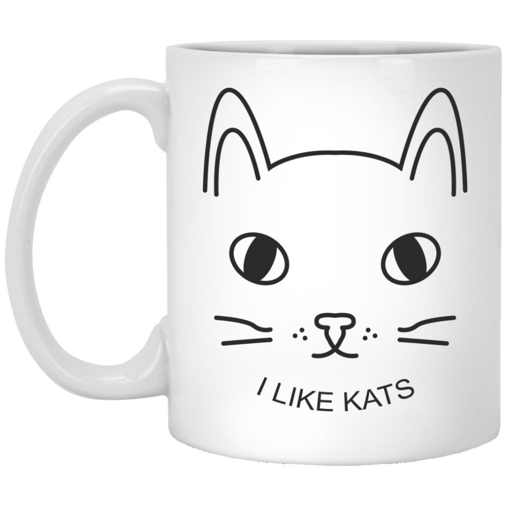 I Like Kats Custom Coffee Mug - Cat Lovers Gift