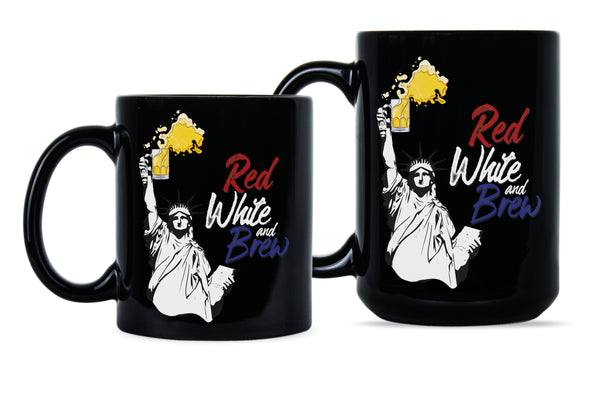 Red White and Brew Mug Patriotic Beer Mug Red White and Brew Coffee Mug