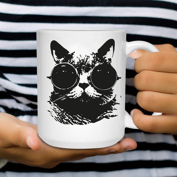 Black Cat Glasses Coffee Mug - Cat Humor