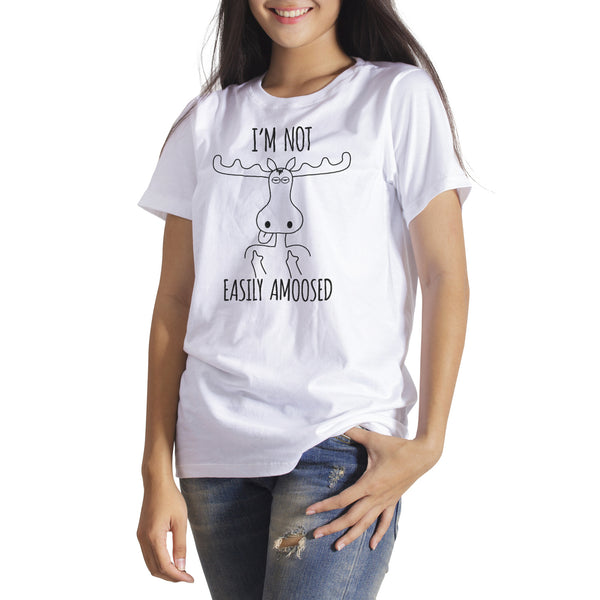 Funny Moose Shirt Im Not Easily AMOOSED Funny Moose Gifts