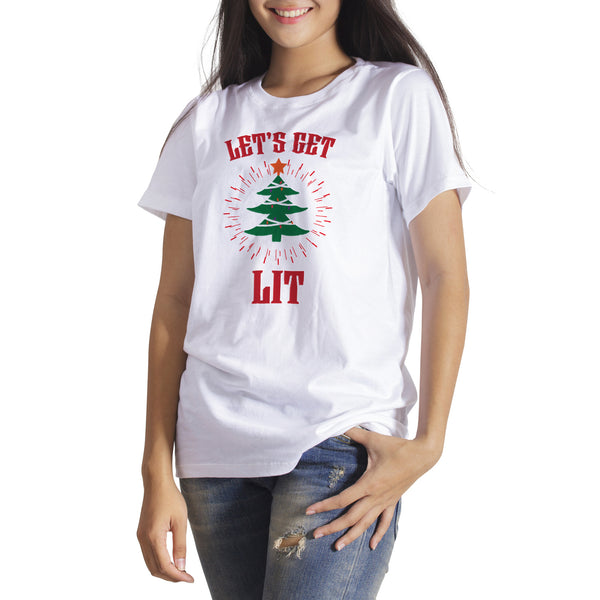 Lets Get Lit Christmas Shirt Let's Get Lit Funny Christmas Drinking T-Shirt
